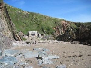 Beach hut with wood burner