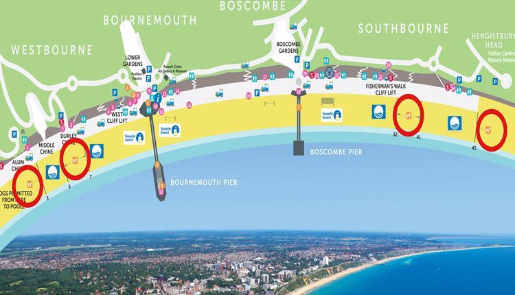 Dog friendly beaches on Bournemouth Dorset map