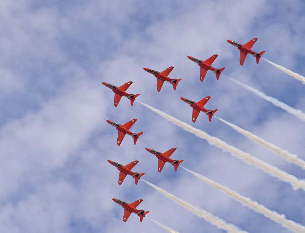 The Red Arrows at an airshow