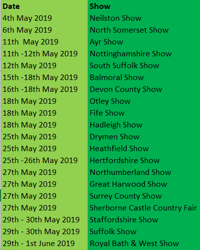 UK Show dates for 2019