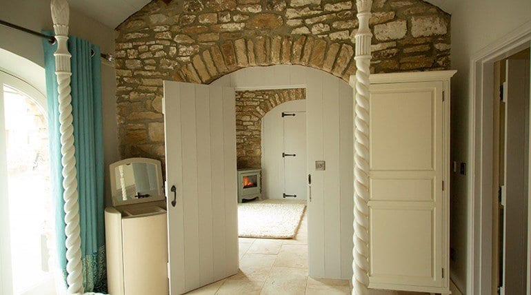 The treehouse stone arch from the bedroom