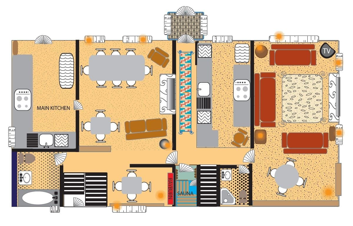 Colourful floor plan