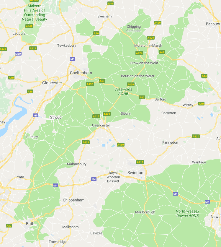 Map showing the area you can take a midweek break in the Cotswolds